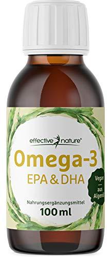 effective nature Omega-3 Öl EPA & DHA, veganes Algenöl mit wertvollen mehrfach ungesättigten Fettsäuren, pflanzlich & hochdosiert, 1116 mg Omega-3 pro Tagesdosis, ohne synthetische Zusätze, 100 ml