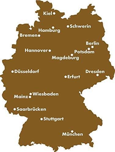 GRAZDesign Deko Aufkleber Deutschland Landkarte - Walltattoo Wohnzimmer Flur Büro Hauptstädte - Wandtattoo Bundesländer / 76x57cm / 091 Gold