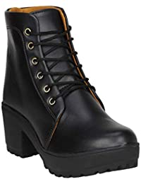 Zapatoz Presents Women's/Ladies/Female/Girls Trendy Fashionable Lightweight Comfortable Partywear, Casualwear Black High Ankle Length Lace-Up Boots, Shoes_(9607_Black)