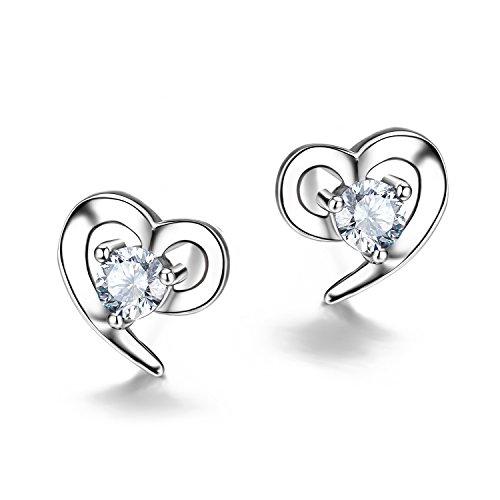 F.ZENI Ohrringe Silber Damen 925 Sterling Silber ohrstecker Liebe Herz Zirkonia Ohrringe für Damen