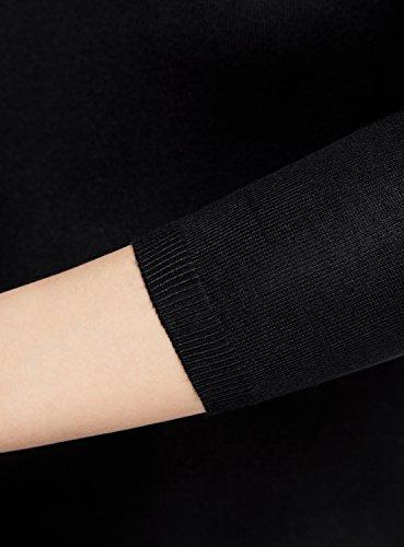 oodji Collection Damen Pullover Basic mit 3/4-Ärmeln Schwarz (2900N)