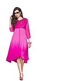 Lords Pink Georgette Stitched Printed With Embroidery Kurti