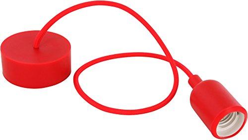 Silicone lampada a sospensione E27230V-Cavo in tessuto 80cm-Rosso