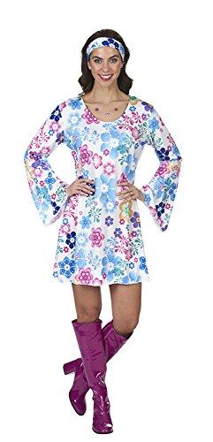Hippie Kostüm Lovely für Damen - Weiß Bunt Gr. 36 38