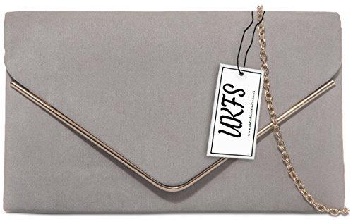 UKFS Damen Günstige Designer-Goldordnungs -Umschlag-Abend-Clutch Handtasche Grau