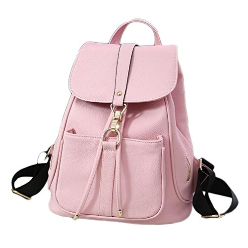Beatayang Damen Vintage Leder Rucksack Schultasche Daypacks Für Outdoor Sport Rosa