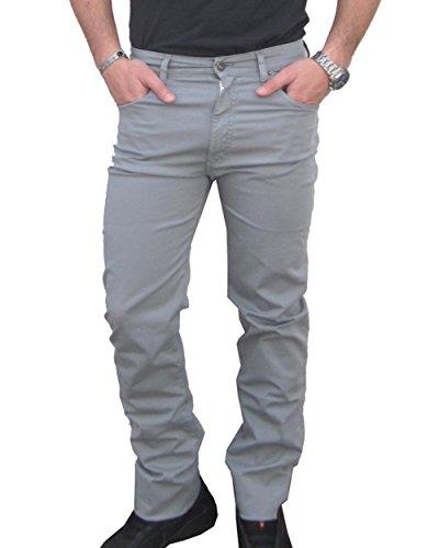 Holiday jeans pantalone leggero mod. etan uomo cotone tg. 46 48 50 52 54 56 58 60 made in italy elasticizzati comfort collezione estate 2018 (58, grigio perla)