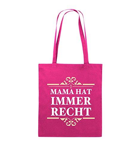 Borse Commedia - La Mamma Ha Sempre Ragione - Juta - Lungo Manico - 38x42cm - Colore: Rosso / Rosa E Bianco Rosa / Colore Rosa-bianco-beige