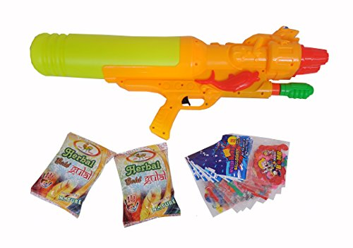 Holi Super Soaker water gun with 2 packs herbal gulal and 10 packs water balloons gift set