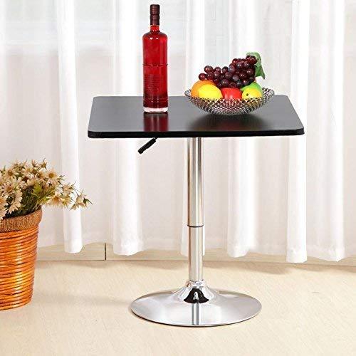 XQY Haushalt High-End Kleine runde Tabelle Höhenverstellbar Square Bar Pub Tisch, Für Coffee Bistro Pub Cafe, Mdf Top, 70-91 Cm, Schwarz -