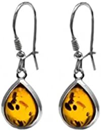 Baltic Honey Amber and Sterling Silver Tear-drop Earrings