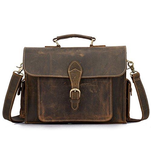 Männer Echtes Leder Deluxe Aktentasche Laptoptasche Schultertasche Messenger Bag Business Office Tasche Griff Travel Cross-Body Taschen Multifunktionale Vintage Tote Bag,Brown-34 * 10.5 * 24cm