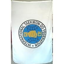 ITF Taekwondo Insignia en una bandera - Súper Emblem - Gran regalo