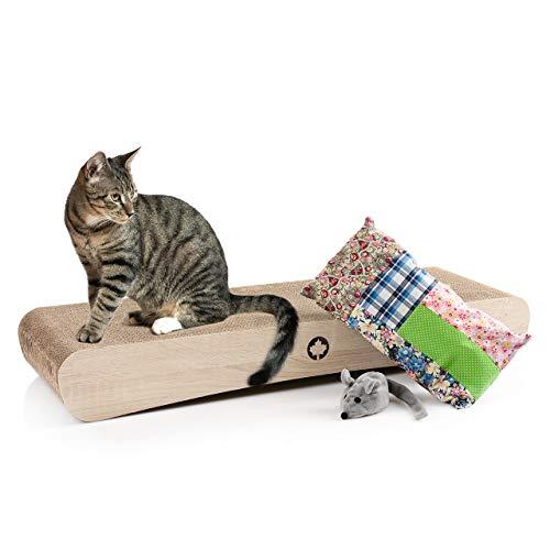 CanadianCat Company ® | Geschenkset für Katzen - Kratzbrett, Schmusekissen und Duftmaus UVP 56,70
