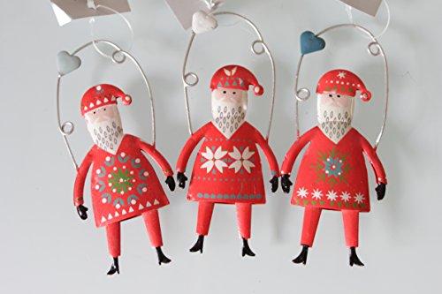 Babbo natale su un altalena, decorazione natalizia: set di 3
