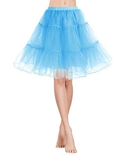 rock Tüllrock 50S Retro Rockabilly kurz Petticoat Ballet Tanzkleid Unterkleid für Cosplay Crinoline Party Blue M (Billige Tutus Für Frauen)