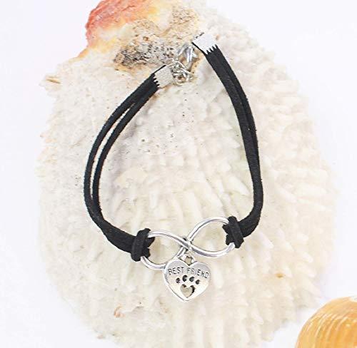 Imagen de pulsera best friends corazón infinito pata animales perros gatos color negro alternativa