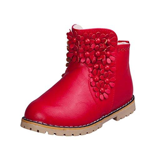 JERFER Kleinkind Baby Jungen und Mädchen Mode Warm Schnüren Blumen Schön Martin Sneaker Stiefel Krippe Schuhe Stiefel Winterstiefel Freizeitschuhe (27, Rot)
