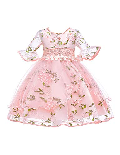 KOKOUK Children''s Party Outfit Embroidered Flower Trumpet Bracelet Sleeve Princess Dresses for Girls 3-8 Years Old (Pink) Baby Girls Pink Check