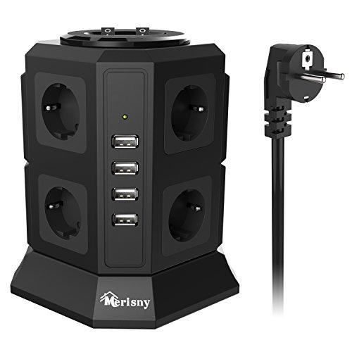 Ab 8 Steckdosen Überspannungsschutz (MERISNY Schaltbar 8 Fach Steckdosenleiste Mehrfachsteckdosen Steckdosenturm mit 4 USB Anschlüsse 2500W/10A Schwarz)