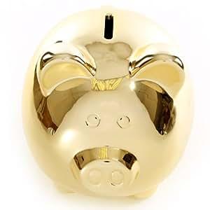 Trés Grande Tirelire Cochon Miroir Doré H 17 cm - largeur 16 cm - Longueur 26 cm - fente 3.5 cm