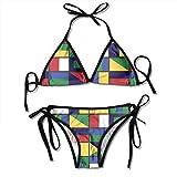 Preppy Sexy Boxing Bikini Women Halterneck Top Set Swimsuits Beach Swimming