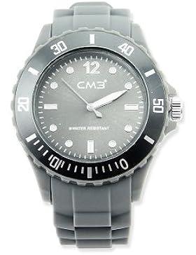 CM3 Silikon Damen Armbanduhr 38mm grau , inkl. 2ter Ersatzbatterie