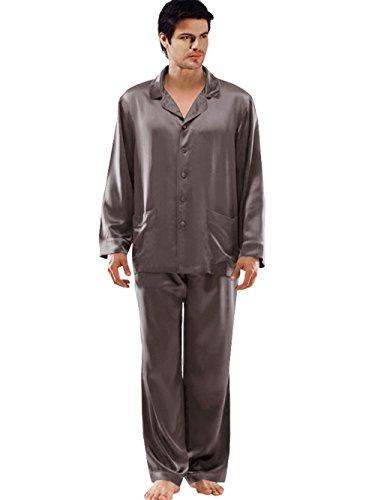 ELLESILK 100% Natur Seide Schlafanzug Herren, Pyjama Lange Ärmel mit Hosen 22 MM Kohlengrau