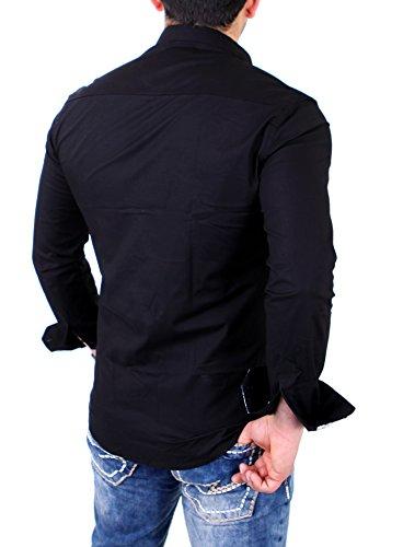 Reslad Herren Hemd Paisley Design Langarmhemd RS-7207 Schwarz