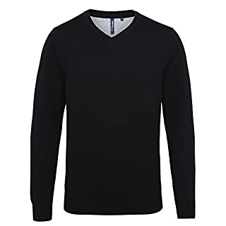 Asquith & Fox Men's Asquith & Fox Men's Cotton Blend v-Neck Sweater Regular Fit Long Sleeve Sweatshirt, Black (Black 000), Medium (Manufacturer Size:Medium)