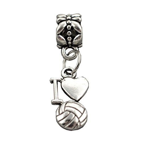 arme baumeln I Love Volleyball Herz Charms für Pandora Armbänder (Volleyball-armbänder)