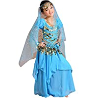 Astage Girl Halloween Belly Dance Costume Outfit Indian Oriental Carnival SetSky Blues