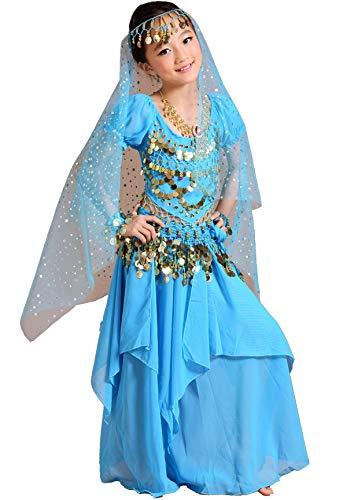 Kostüm Prinzessin Kind Indische - Astage Mädchen Kleid Bauchtanz Indianisch Halloween Karneval Kostüme S Himmelblau