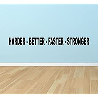 Harder Better Faster Stronger, Vinyl Wall Sticker Fitness Gym Studio Inspirational Quote Decal Mural Home Decor Workout Sports?