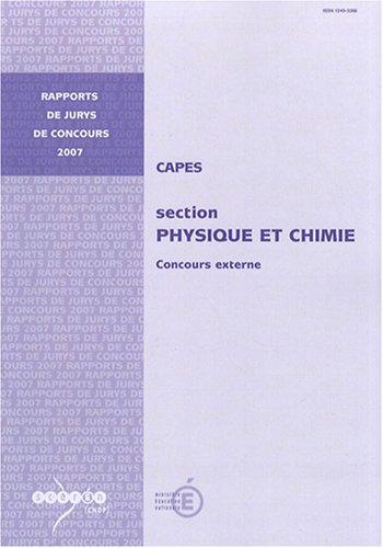 CAPES physique et chimie : Concours externe