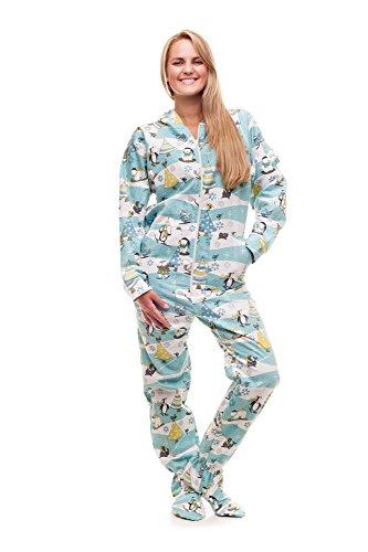 Kajamaz Weihnachtsmorgen Schlafanzug mit Füßlingen für Erwachsene Strampler für Erwachsene (Large)