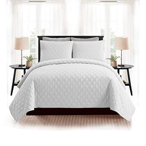 AMEHA Pflegeleichte Patchwork-Tagesdecke Quilts Bezug Schmusetuch Überwürfe Bettwäsche-Set mit Kissenbezügen, White - Ins, King Size