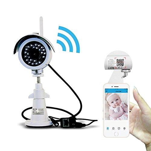 Sumpple S631 Caméra IP de surveillance WiFi/Filaire 720P Extérieur/Intérieur, Vision nocturne, IP66 Waterproof, Sauvegarde Vidéo, Instantané, Détection de mouvement, Email Alarm, Visionnage à Distance sur Smartphone/Tablette/PC Blanc