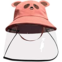 Bucket Hats with Detachable Visor Dustproof Cover Kids Boys Girls Fisherman Cap Hat Removable Protective Droplet Mask Bear Ear Adult Teenagers Sun Caps Anti-spitting Protective Hat4-12Years