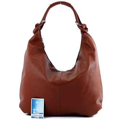 modamoda de - ital. Ledertasche Damentasche Hobo Bag Schultertasche Shopper Groß Leder 337 Braun