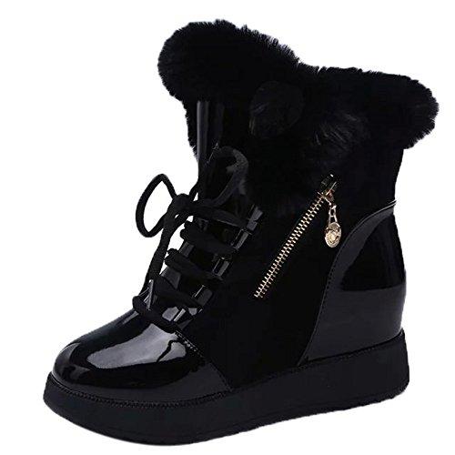Stiefel Damen Julywe Frauen Soft Snow Boots Runde Zehe Flache Winterpelz Stiefeletten Schuhe