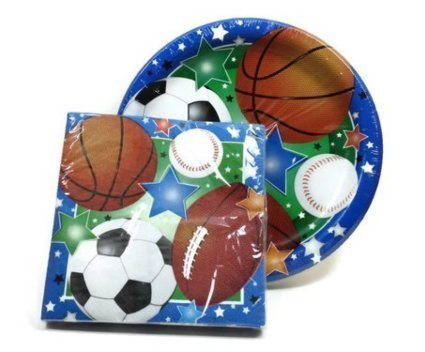 Sports Themed Party Supply Pack - 18 Plates and 20 Napkins - Baseball, Football, Soccer, Basketball by Party!