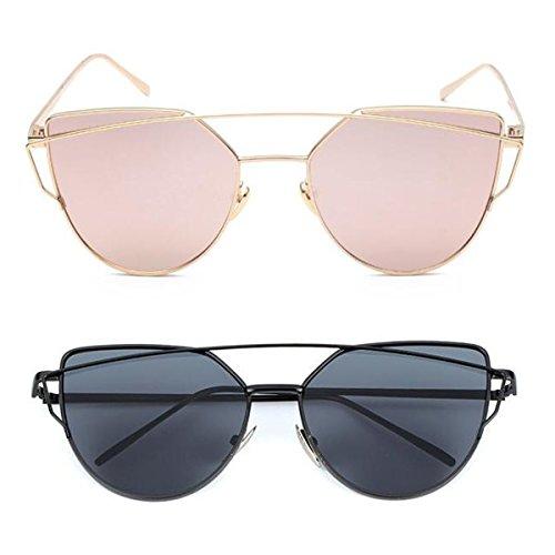 L&K-II Classische Sonnenbrille Damen Metall Rahmen verspiegelte Linse Brille 5101 set 02