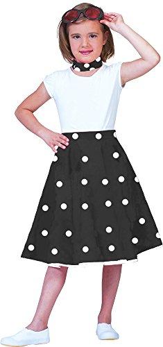 Tellerrock mit Halstuch für Kinder Schwarz Weiß Gr. (Kostüme Jahre 50er Mädchen)
