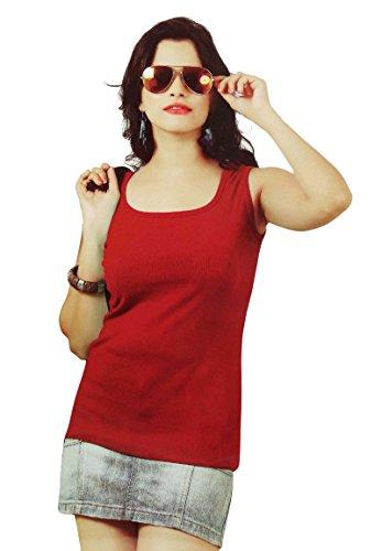 coton femmes courroie spaghetti manches meilleures filles t shirt réservoir Rouge