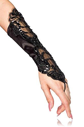 Armstulpen aus Satin mit Stickereien und Perlen - perfekt für Hochzeit, Party, Abend, Karneval, Fasching - A12060, Größe:onesize;Farbe:schwarz