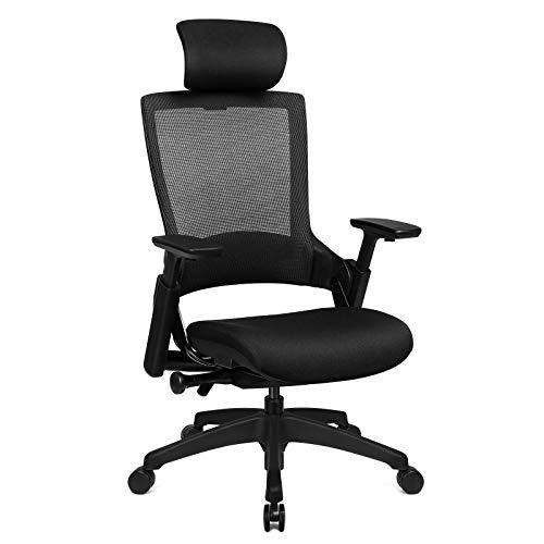 SONGMICS Bürostuhl, Ergonomischer Computerstuhl mit Lendenwirbelstütze, Verstellbare Sitzhöhe, Neigbare Rückenlehne, Maximale Belastung 150kg (Schwarz), OBN92BK