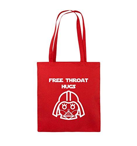 Comedy Bags - FREE THROAT HUGS - Jutebeutel - lange Henkel - 38x42cm - Farbe: Schwarz / Silber Rot / Weiss