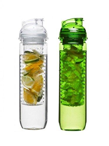 Sagaform - 1x Clear & 1x Green Bottles with Fruit Piston Sets by Sagaform Sagaform Green