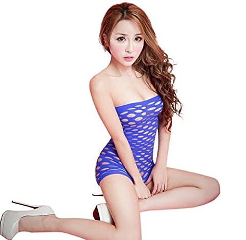 tenue de nuit /Caraco❀AMUSTER ❀Lingerie féminine Évider Pièce Bodycon Robe (bleu)